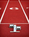 Running blocks at the starting line Stock Photography