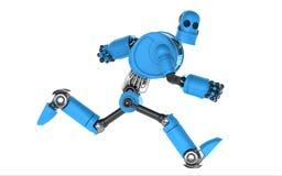 Running blue robot. Royalty Free Stock Image