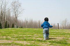A running boy. A running asia boy on green grassland in spring Royalty Free Stock Photography