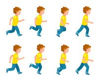 Running Boy Animation Sprite Set. 8 Frame Loop. Kid running animation set. Boy in motion. Collection of running boy icons. Animation sprite asset. Sport. Run Royalty Free Stock Image