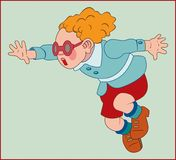 RUNNING BOY ON BLUE BACKGROUND. Color image of a running little boy with red hair in a blue jacket Royalty Free Stock Photos
