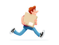 Running boy carry box. Delivery service. Royalty Free Stock Image