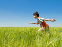 Running boy in the field Stock Image