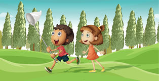 A running boy and a girl Royalty Free Stock Image