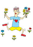 Running boy in love. Funy running boy in love with flowers Available as vector too vector illustration