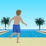 Running boy near swimming pool Stock Photography