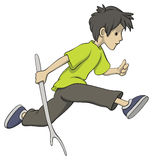Running boy with a stick Stock Photography