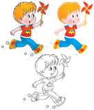 Running boy with a toy. Little boy runs with his toy (3 versions of the illustration Stock Photography