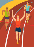 Running boys crossing finish line on stadium. Dynamic running men crossing finish line on stadium.Competition event. Sport  illustration for your design Stock Photos