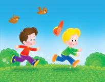 Running boys play tag. Color clip-art illustration of running boys whom play tag on the green grass in summer day vector illustration