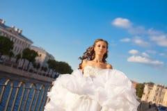 Running bride outdoor Stock Image