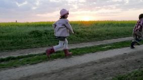 Running brother and sister, runs along field road, happy smiling kid having fun, healthy childhood, laughing children stock video footage