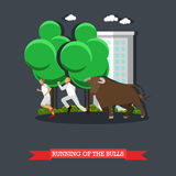 Running of the Bulls concept vector poster in flat style. People run in front bull in Spain Royalty Free Stock Photos