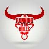 Running of the Bulls festival. Vector eps10 royalty free illustration