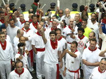 Running of the bulls in Pamplona Stock Image