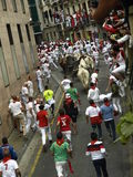 Running of the bulls in Pamplona Stock Photography