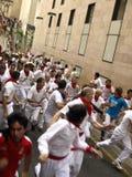 Running of the bulls in Pamplona Stock Photos