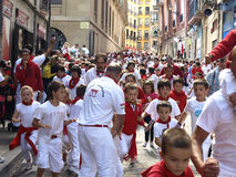 Running of the bulls in Pamplona Stock Photo