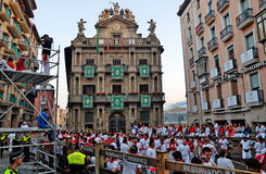 Running with the Bulls, San Fermin, Pamplona. This picture was taken just before the start of the traditional and controversial 'running with the bulls' event ( Stock Photography