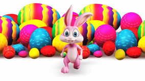Running Bunny and colorful eggs
