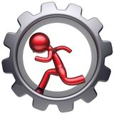 Running business inside gear wheel man stylized red character. Human rotate cogwheel cartoon guy hamster person worker black gearwheel work employment Royalty Free Stock Images