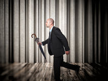 Running business. Man and abstract background Stock Photos