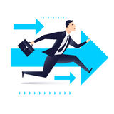 Running business man with arrows on background, be the first business concept.  Royalty Free Stock Photo