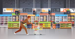 Running business man customer with shopping trolley cart busy male shopper buying products grocery market interior flat. Horizontal vector illustration stock illustration
