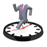 Running Business Suit On Big Clock Royalty Free Stock Photography