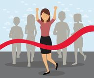 Running business woman crossing the finish line. Business race career success concept illustration Royalty Free Stock Photography