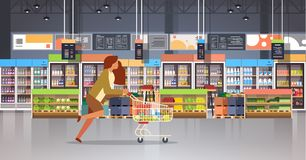 Running business woman customer with shopping trolley cart busy female shopper buying products grocery market interior. Flat horizontal vector illustration vector illustration