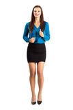 Running business woman frontal view. Full body length isolated over white background Royalty Free Stock Images