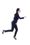 Running business woman in suit isolated on white Royalty Free Stock Image