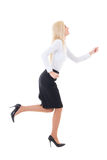 Running business woman in suit isolated on white Stock Photos