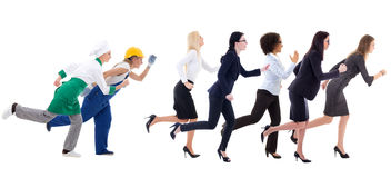 Running business women and service workers isolated on white Royalty Free Stock Photo
