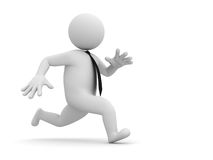Running businessman. 3d running businessman on white background with shadow Stock Image