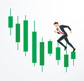 Running businessman on Candlestick stock exchange vector. EPS 10 royalty free illustration