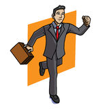 Running businessman carrying briefcase. A running businessman wearing a red tie and black suit with a brown briefcase in his right hand stock illustration