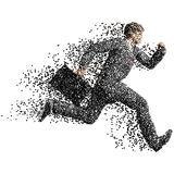 Running businessman with case made of scattered balls Royalty Free Stock Photos