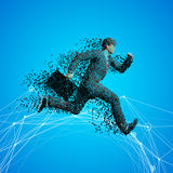 Running businessman with case made of scattered balls.  Stock Images