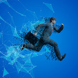 Running businessman with case made of scattered balls. Triangles and dots background Royalty Free Stock Images