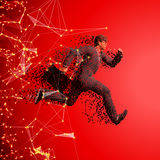 Running businessman with case made of scattered balls. Triangles Royalty Free Stock Images