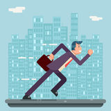 Running Businessman Character Urban Landscape City Street Background Flat Design Vector Illustration Royalty Free Stock Photos