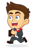 Running Businessman. Clipart Picture of a Running Male Businessman Cartoon Character Stock Image