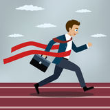 Running businessman crosses a red ribbon. Running businessman crosses a finish line red ribbon. Flat style vector illustration Stock Images