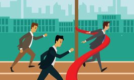 Running businessman crossing the finish line. Business race career success concept illustration Royalty Free Stock Image