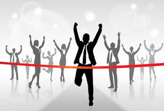 Running Businessman Crossing Finish Line Win. Success Business People, Vector Illustration Stock Photo
