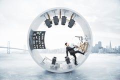 Running businessman cylinder Stock Photography