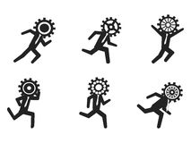 Running businessman with gear head Royalty Free Stock Images
