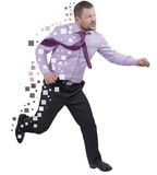 Running businessman in a hurry on white background Royalty Free Stock Image